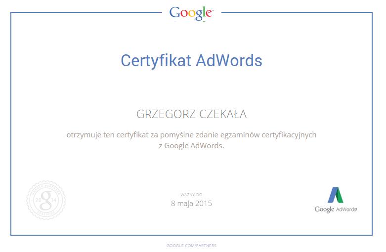 Certyfikat otrzymany za pomyślne zdanie egazminu AdWords - Grzegorz Czekała